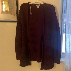 Dark red medium knit cardigan